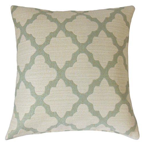 The Pillow Collection P18-ROB-CASABLANCAGEO-AQUAMARINE-P100 - Almohada geométrica de ferrol, Color Aguamarina