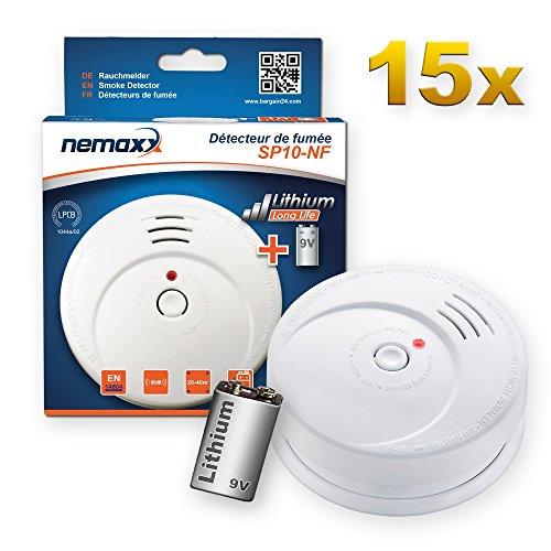 15x Nemaxx SP10-NF Rauchwarnmelder - langlebiger Rauchmelder mit 9V Lithiumbatterie DIN EN14604