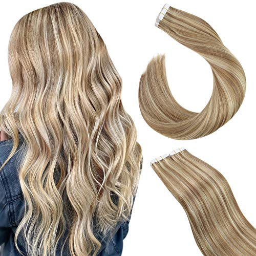 Ugeat Extension Cheveux Naturel Adhesif 50g/20pcs Tapes Extensions de Cheveux Humains Highlight Brun Doré Highlighted Blonde Blanchie #10/613 Extensions Adhesives Blond 18 Pouces