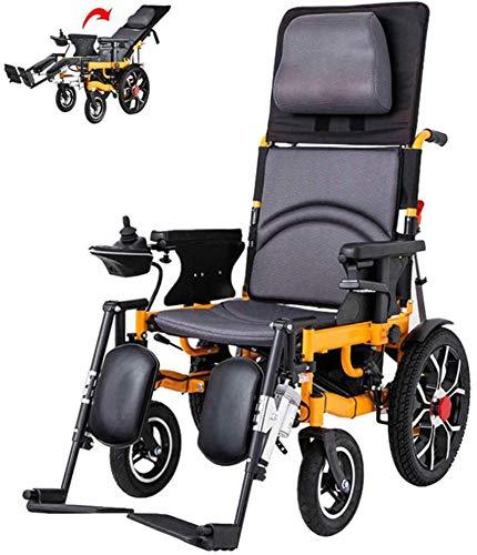Silla de Ruedas eléctrica, Ligera silla de ruedas Silla de ruedas eléctrica silla de ruedas eléctrica plegable de autopropulsión con Powerchair control remoto totalmente mentira ,4 Ruedas Andador Para