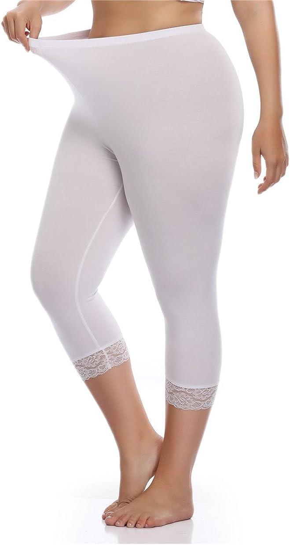 Kotii Women's Plus Size Lace Trim Capri Leggings Stretch Crop Leggings Summer Tights Pants