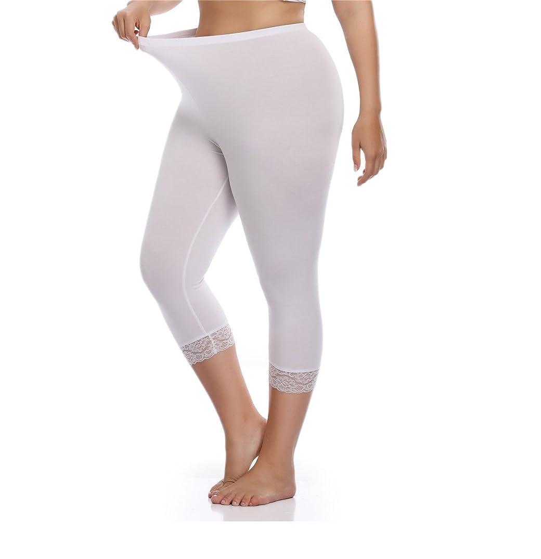 Kotii Women's Plus Size Lace Trim Capri Leggings Cropped Leggings Stretch Tights Pants