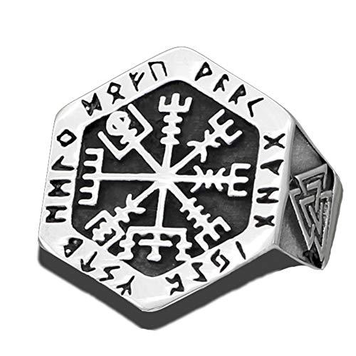 Fandao Anillo de Símbolo de Brújula Vikinga, Talismán de Anillo Triangular de Mitología Nórdica, Joyería Escandinava de Acero Inoxidable, Cuero/Bolsa de Regalo/Embalaje,10