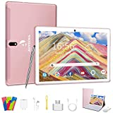 Android 9 Pro Tablet 10 Pollici, Quad-Core Tablet PC con Tastiera,4GB RAM+64GB ROM,Schermata G + G,4G LTE,WiFi,8MP Fotocamera,GPS,Bluetooth-Rosa