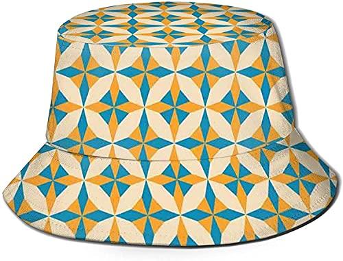 Plegable reversible negro impreso pescador cubo sol sombrero abstracto geométrico origami patrón vintage estilo ilustración retro decoración del hogar, plegable verano viaje cubo playa sol sombrero