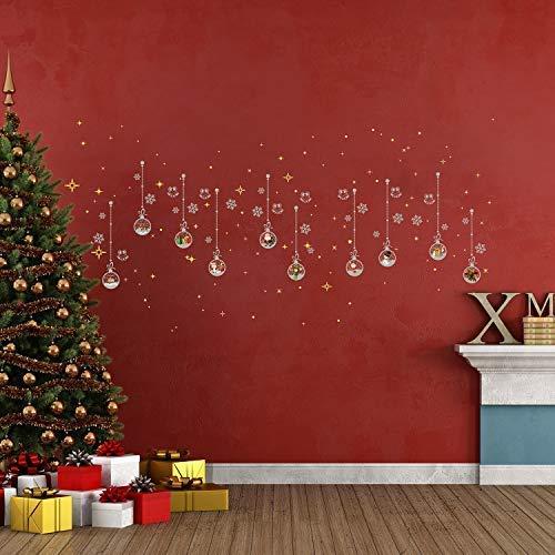 Walplus Joyeux Décorations de Noël Cadeau or Mat Noël Ornements Lune &Étoiles Brille Autocollant Mural Père Noël Mur Murales Décalques Salle à Manger Crèche Enfants Décor à la Maison