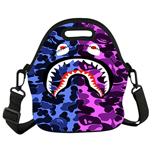 Zooshum B-ape Sha-rk Ca-mo Reusable Insulated Neoprene Lunch Tote Bag Handbag Lunch Box Cooler Warm Pouch For School Work Office