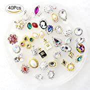 40 Packs Luxury Multi-Colored Shining Diamond Rhinestones, Fomei Distinctive DIY Nail Art Decorations Charming Nail Art Work Crystals For Elegant Beautiful Fashionable Girls And Women