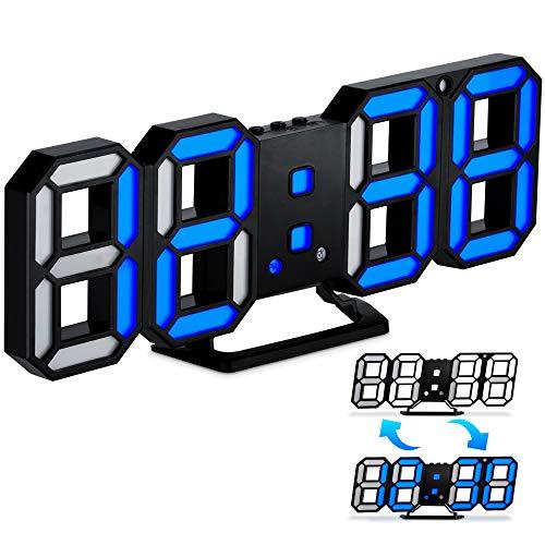 Reloj Despertador Digital 3D LED, Reloj Despertador Números LED con 3 Niveles de Brillo Ajustable, USB Reloj de Pared Electrónico LED con Función de Repetición para Escritorio Sala de Estar Dormitorio