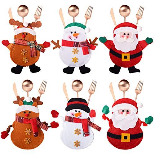 Gudotra 6 Pezzi Portaposate Natalizie Fatti a Mano Tasche Posate per Forchetta Cucchiaio Decorazione della Tavolo di Natale (Stile 11)