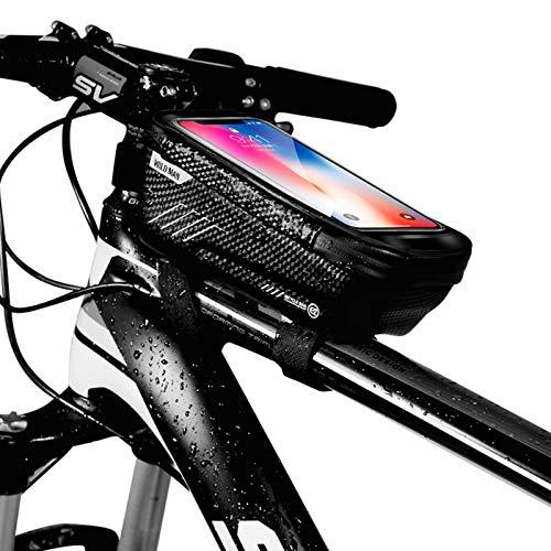 Niluoya Bolsa de Movil Bicicleta Manillar, Soporte Impermeable Accesorios Bicletas Porta Bike Montaña Frame Bag, Táctil de Tubo Superior Delantero, para Teléfono Inteligente por Debajo de 6,5 Pulgadas 🔥