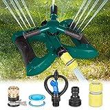 Kupton Lawn Sprinkler System, 360° Rotating Adjustable Sprinkler, 3-arm Sprayer Garden Sprinkler Irrigation System, Large Area Covering Up to 3600 Square Feet