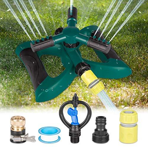 Kupton Lawn Sprinkler System, 360° Rotating Adjustable Sprinkler Head, 3-arm Sprayer Garden Sprinkler Irrigation System, Large Area Covering Up to 3600 Square Feet