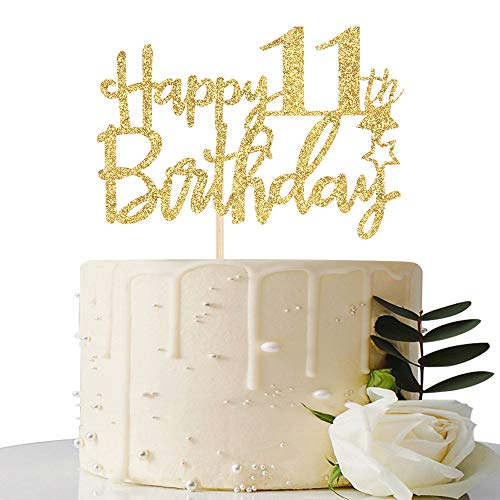 Gold Glitter Happy 11th Birthday Cake Topper - 11 Cake Topper - 11th Birthday Party Supplies - 11th Birthday Party Decorations