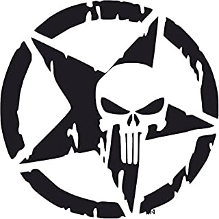 All About Families Punisher Skull Military Weathered Star ~ Style 1 ~ Black ~ Die Cut 3M Vinyl Decal Sticker/Tool Box/Phone/CAR/Truck/Decal Sticker with Alcohol PAD ~ 5