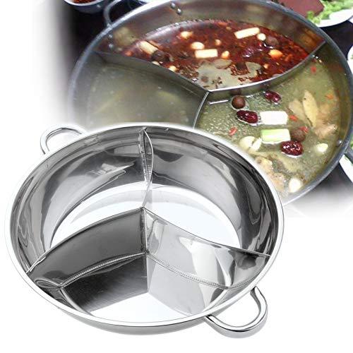 Cocina olla caliente de acero inoxidable tres utensilios de cocina divididos olla de inducción olla caliente gobernado Compatible herramientas de cocina,32cm