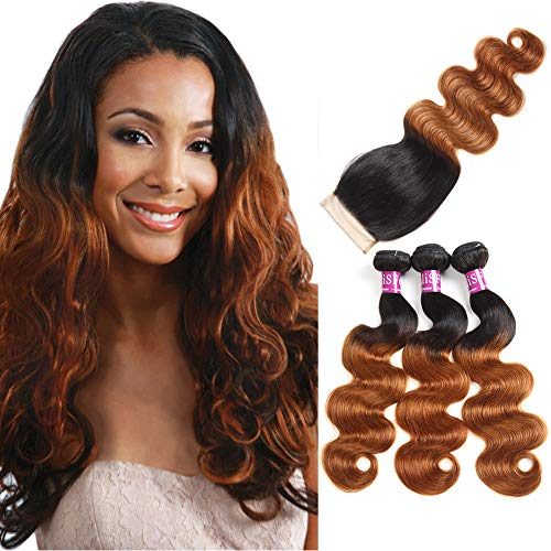10A Brazilian Hair With Closure Brazilian Body Wave With Closure Ombre 3 Bundles Blonde Human Hair Weave With Lace Closure (18' 20' 22'+Closure 16')