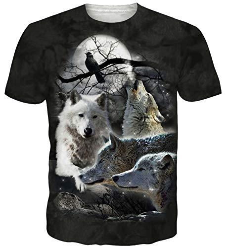 Goodstoworld Howlin Wolf 3D Print Camiseta Hombre Mujer Casual de Verano Manga Corta Personalizada Tshirt tee Tops Ropa pequeña