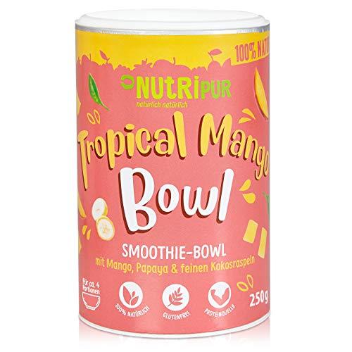 Smoothie Bowl: 250g Leckeres Tropical Mango Früchte Porridge mit Mango, Papaya, Kokosnuss Raspeln, Bananen Chips – Superfood Smoothie Pulver – Glutenfrei, vegan – Früchte Müsli Mischung von NutriPur