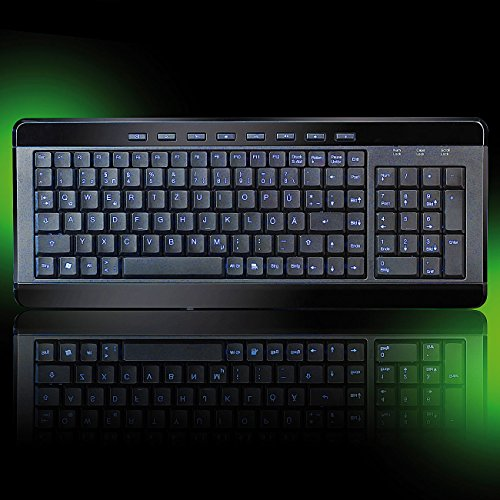 GeneralKeys Tastatur beleuchtet: Kompakte USB-Multimedia-Tastatur Light Key mit Beleuchtung (Beleuchtete USB Tastaturen)
