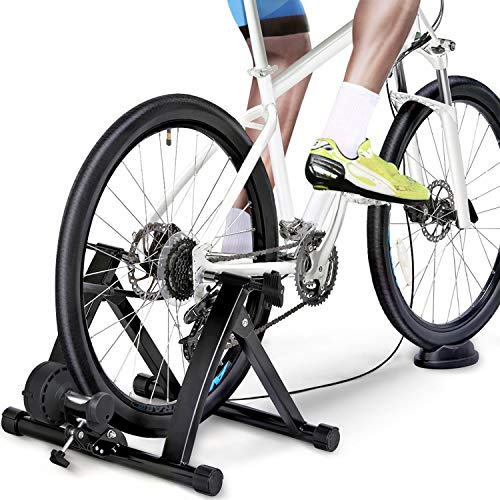 Yaheetech Magnetic Turbo Trainer Foldable Indoor Bike Trainer Stand with Variable Speed Levels Wire-Control Turbo Trainer Stand Black