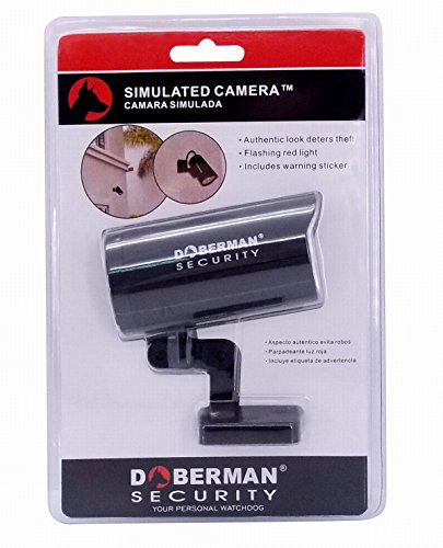 DOBERMAN SECURITY Dummy / Fake Security Camera – Realistic Look and Sturdy Design for Appearance of Video Surveillance & Deter Theft – Flashing Red LED Simulates Infrared Sensor for Additional Authenticity – Model SE-0405
