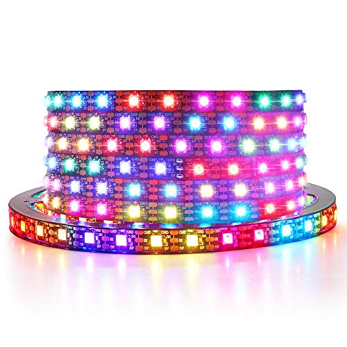 ALITOVE WS2812B LED Strip 6.6ft 2M 120 LEDs Addressable RGB LED Pixels Programmable Dream Color Digital LED Lights Strip 5V DC Support Arduino Raspberry Pi for Home Theater Bedroom Bar Decor Lighting