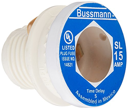 Bussmann BP/SL-15 15 Amp Time Delay Loaded Link Rejection Base Plug Fuse, 125V UL Listed Carded, 3-Pack
