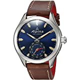 Alpina Herren Analog Quarz Uhr mit Leder Armband AL-285NS5AQ6