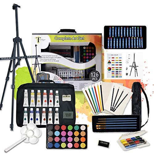Tavolozza 126 Piece Deluxer Artist Painting Set with Floor Easel, Arcylic and Watercolor Paint Kit, Great Gift for Beginner, Student, Adults and Artists/Perfect Gift