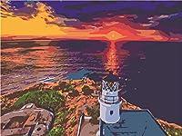 夕日を眺めるDIYデジタル絵画バルコニーDiyデジタル油絵壁画家の装飾アクリル画(フレームなし)40X50