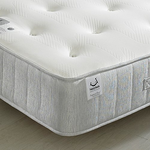 Memory Foam Open Coil Spring, Happy Beds Pearl Contour Medium Soft Tension Mattress - 4ft6 Double (135 x 190 cm)