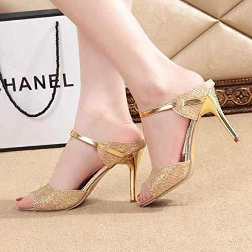 Satijn met open teen sleehak,Sandalen met vissenmond, open stilerende dames stiletto-goud_36,Damesschoenen met open teen