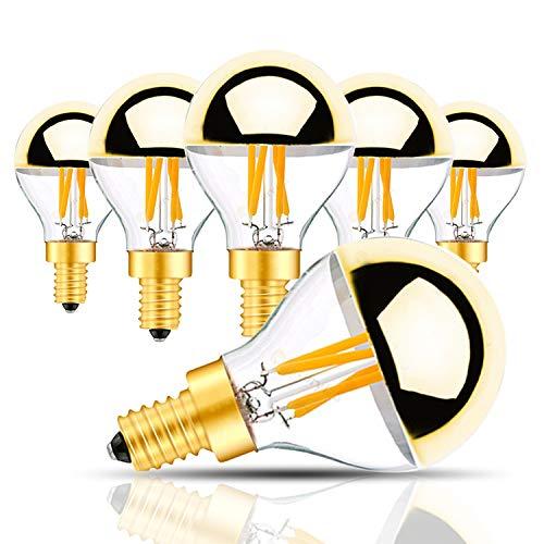 4 Watt Halbchrom LED Birne, G45/G14 Golden Bowl LED-Glühlampe mit vertikalem Glühlampe und Spiegel E14 Candelabra Sockelleuchte 40 Watt Gleich warmweiß 2700K UL gelistet Nicht dimmbar 6 Pack