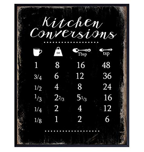 Kitchen, Dining Room, Cafe, Restaurant Wall Art Decor - Measurement Conversion Chart for Cooking, Baking - Rustic Faux Vintage Wood Sign Plaque Decoration - Cute Gift for Women, Cook, Chef - Black