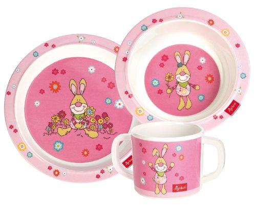 sigikid, Mädchen, Melamin-Set, Teller / Schüssel / Tasse, Bungee Bunny, Rosa, 24404