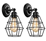 Elibbren Industrial Wall Sconce, 2 Pack, Vintage Wire Cage Wall Lighting Sconce,...