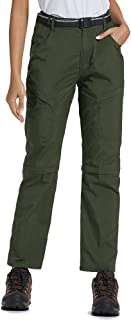 Women's Outdoor Anytime Quick Dry Cargo Pants Convertible Hiking Camping Fishing Zip Off Stretch Trousers 6063,Army Green 30