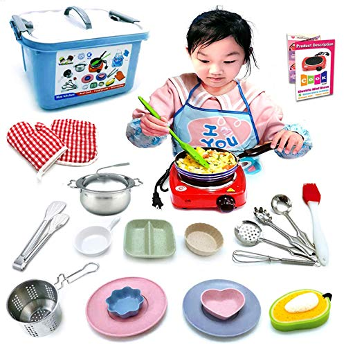 Kids Junior Tiny Real Easy Cooking Kitchen Set and Baking Kit - 22 Pc. Mini Stove Burner, Chef, Apron, Oven Mitt, Recipes - Easy Cook Real Food Utensils Gift for Boys and Girls Ages 6-12
