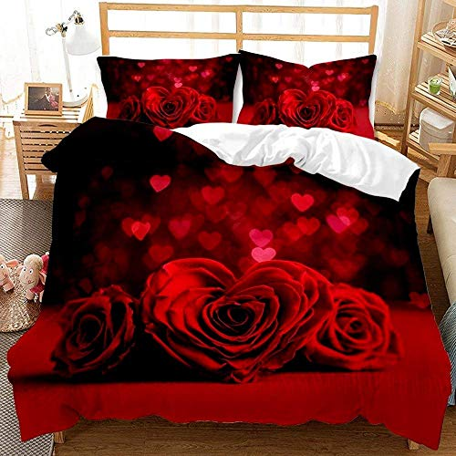 LWtiao-x Couple Bedding, 3D Rose Quilt Cover 200×200 Set, 3 Piece Quilt Cover with Zipper, Boy and Girl, Family, Double Bed (a1,155x220cm+80x80cmx2)