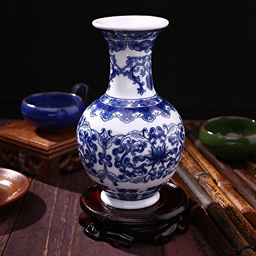 TOPmountain Porcelain Flower Vase,Antique Traditional Chinese Blue and White Porcelain Vase Ceramic Flower Pot for Home Decoration-C1