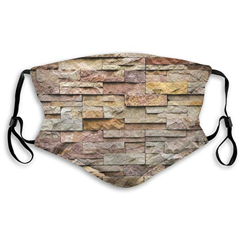 Comfortable Activated carbon filter Windproof mask,Urban Brick Slate Stone Wall With Rocks Featured Facade Architecture Town Picture,Fashion Facial decorations for kids