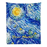 Custom Blanket with Name Text,Personalized Starry Night Super Soft Fleece Throw Blanket for Couch Sofa Bed (50 X 60 inches)