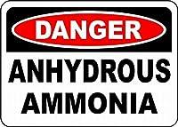 注意サイン-危険な無水アンモニア。通知のためのインチ通りの交通危険屋外の防水および防錆の金属錫の印