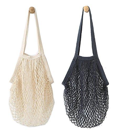 Wiederverwendbare Einkaufstasche von Metyou, 2 Stück, aus Netzstoff, Organizer, Tasche für Obst Schwarz, Beige