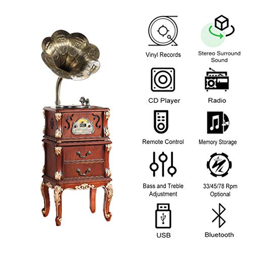 GOM Bluetooth Out platenspeler, decoratieve meubels, geïntegreerde stereo-luidsprekers 33/45/78 U/min, ondersteunt CD/radio/USB/RCA, GOM-006