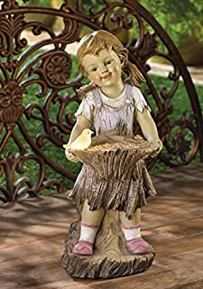 Children Garden Girl Solar Statue Outdoor Concrete Sculptures Decor Disney Angel Ornament Resin Lawn Yard Patio Ornament