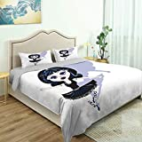 SUPNON 3 Piece Bedding Set 3D Printed Quilts Cover with 2 Pillow Cover, Goth, Cartoon Style Ballerina in A Tutu and Queen/King Size Bedding Sets No32130 - Queen Size