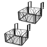 AmnoAmno 2PCS Balcony Hanging Flower Rack Railing Planter Pots for Outside, Deck Box Outdoor Hanger Stand with Strong Metal Folding Design and Easy Installation (Black)