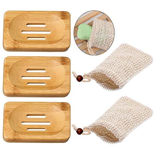 nuoshen Seifenschalen aus Bambus, Seifenbeutel zum Aufschäumen, Trocknen – 3 Bambus-Seifenschalen + 2 Seifenbeutel (braun, beige)